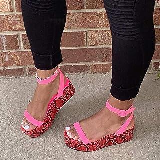 Womens Casual Platform Sandals, Ankle Buckle Strap Open Toe Slingback Summer Sandals, Casual Slide on Python Print Flatform,C,35