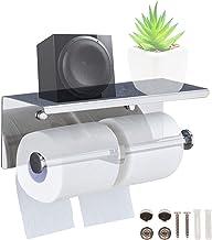 SPDYCESS Dubbele Tissue Rolhouder met Ruime Plank - Roestvrijstalen Wandgemonteerde Tissue Opslaghouder voor Toilet Badkam...