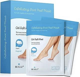 BeaLuz Exfoliating Foot Peel Mask - Exfoliant for Soft Feet in 1-2 Weeks, Peeling Off Calluses & Dead Skin, For Men & Women 2 Pairs