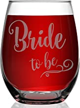 Shop4Ever Bride To Be Laser Engraved Stemless Wine Glass ~ Engagement Wedding Bachelorette Gift for Fiance Future Mrs ~ (15 oz.)