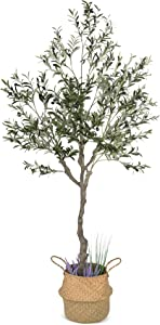 Artificial Olive Tree, 82 Inches Tall - Fake Floor Plant for Modern Home Decor - Living Room, Bedroom, Balcony - Faux Potted Trees for Indoor or Outdoor - Includes Seagrass Belly Basket