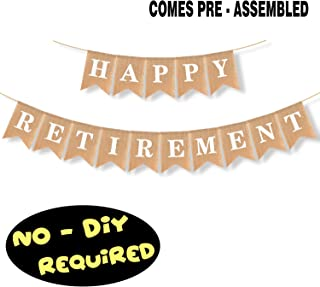 Happy Retirement Banner Burlap Bunting Retirement Farewell Fabulous Party Decorations NO DIY REQUIRED Home Outdoor Fireplace Hanging Decorations Supplies