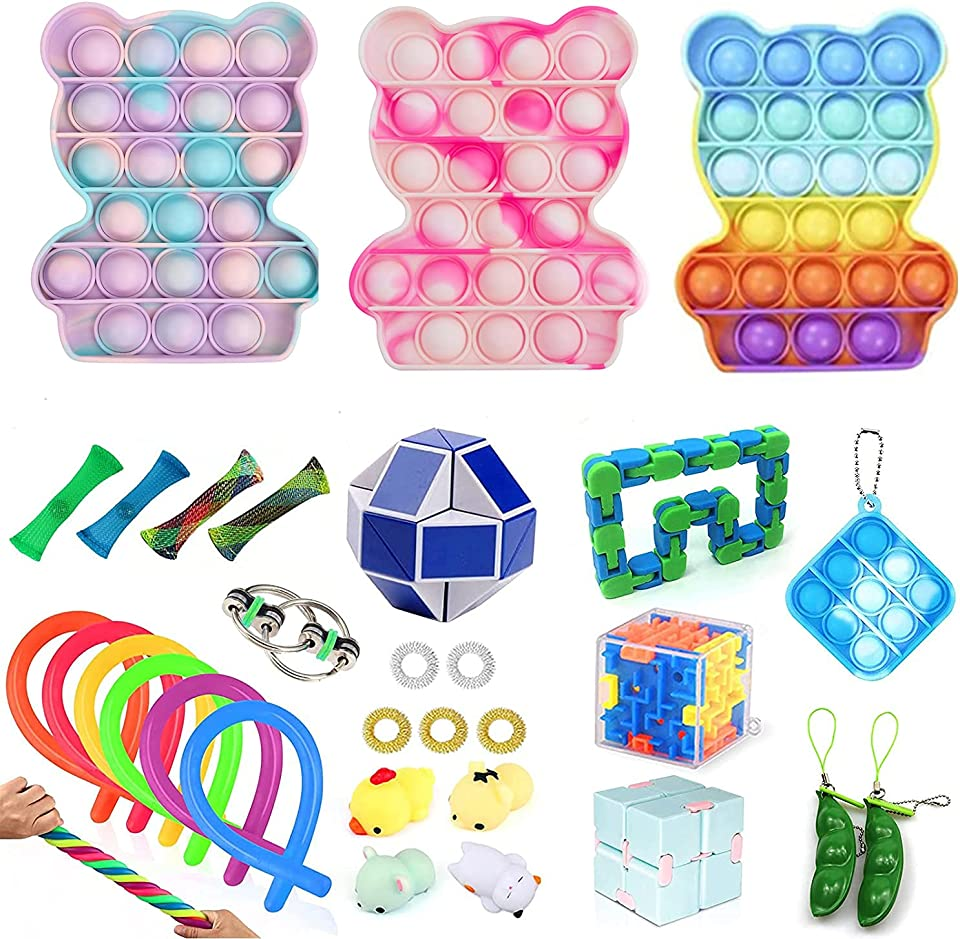 TIK Tok Fidget Toys Pack Sensory Fidget Toys Push Bubble Pop Toy Stress Anxiety Relief Toys Set for ADD OCD Autistic Children Adults Anxiety Autism