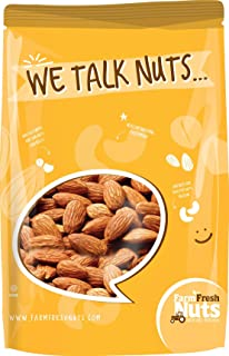 Farm Fresh Nuts CALIFORNIA ALMONDS Dry Roasted with healthy Himalayan Salt (1 LB)