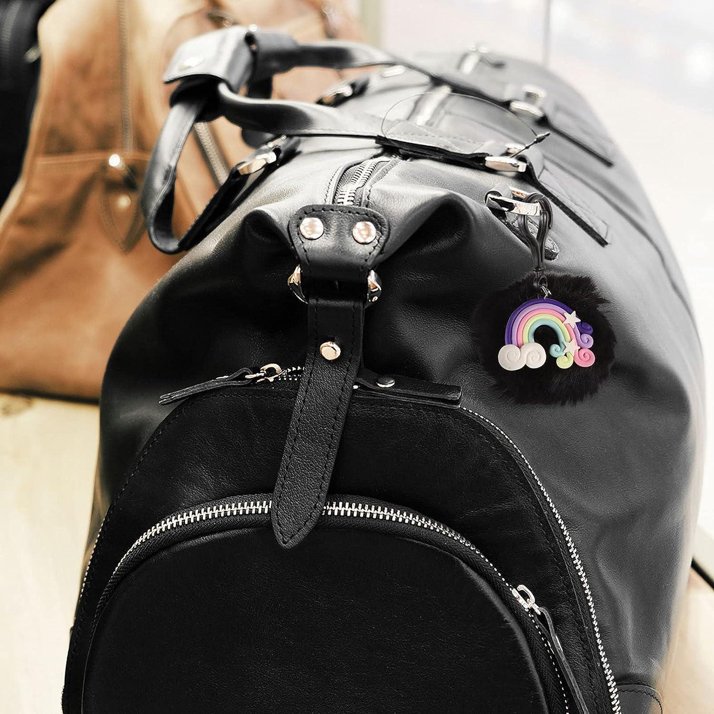 BESPORTBLE 3pcs Rainbow Keychains Macrame Weaving Tassel Keychains Fluffy Pompoms Keyring Car Bag Charmfor Women Girls Bag Accessories Random