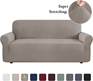 Stretch Sofa Slipcover, Sofa Covers for Living Room, 1 Piece Furniture Lounge Cover for Sofa, Feature Spandex Jacquard Fabric for 3 Seater Sofa Cover (Sofa, Taupe)