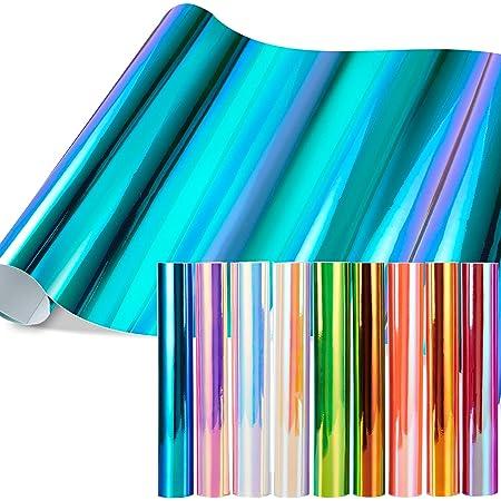 """Feuilles en vinyle opale holographique, jeu de 11 feuilles en vinyle à dos adhésif permanent Ohuhu, 9 feuilles en vinyle métallisé 12"""" x 12"""" + 2 rubans adhésifs outil de découpe"""