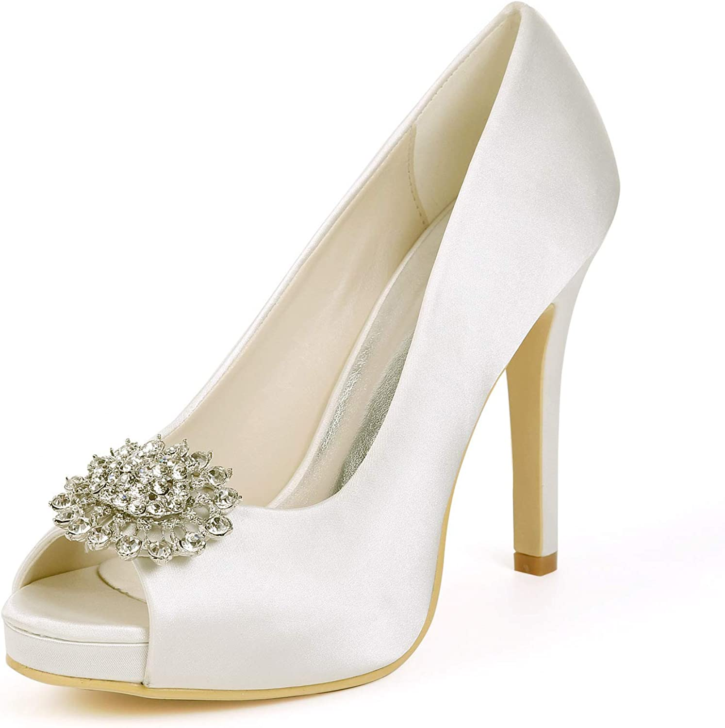 CCBubble Peep Toe Heels Bridal shoes for Wedding Satin Crystal Women Formal Party Pumps