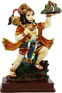 VintFlea 'Handmade God Hanuman Statue' Devotee of Lord Rama Altar, Indian Religious Figurine, by Resin Marble Work Idol Sculpture, for Home Decor Showpiece & Gifting - 12.5 x 22 x 7 cms