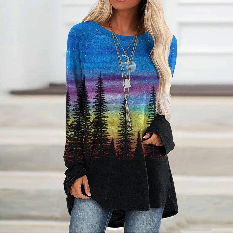 Xinantime Women's Pullover Loose Shirts Oversized Long Sleeve Basic Tops Loose Printed Sweatshirt Ladies Fall Blouse