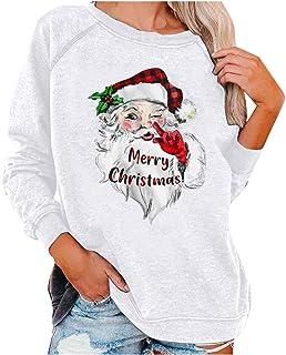 Feliz Navidad#Animales con Sombrero de Navidad,Camisetas de Manga Larga con Cuello Redondo para Mujer Blusas Sudaderas Tops