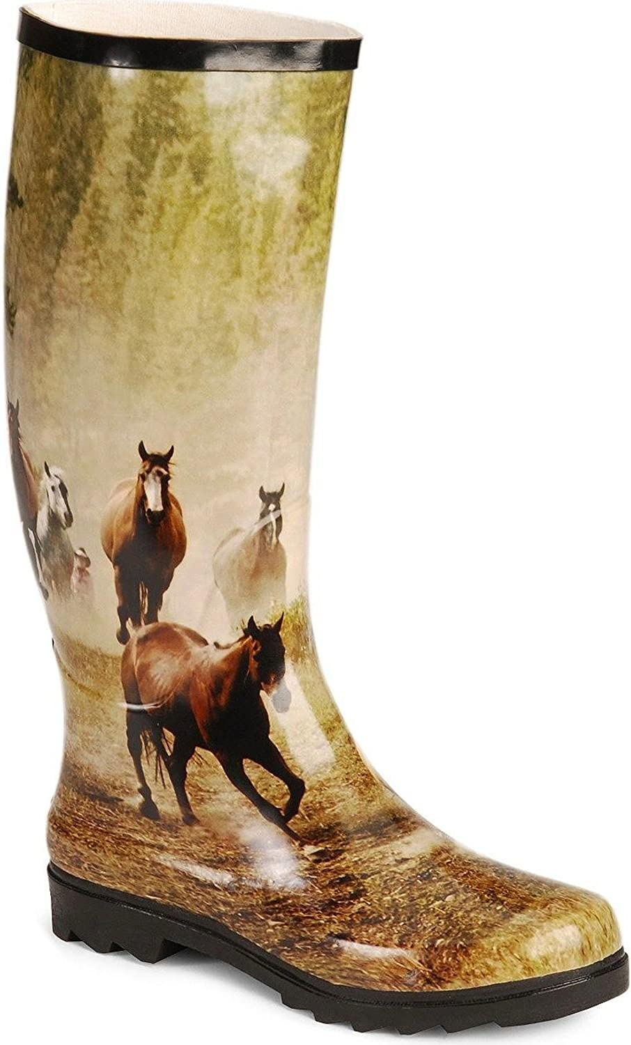 Smoky Mountain Running Horses Wellington Rubber Boots - 10