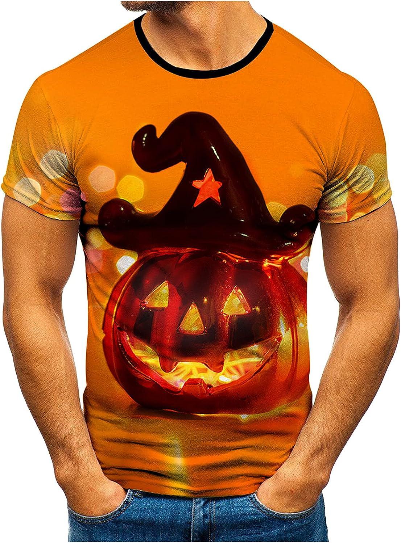 Mens Halloween Shirts Funny Pumpkin Lantern Bat Blouse Casual Short Sleeves Crewneck T-Shirt Fun Graphic Tops A