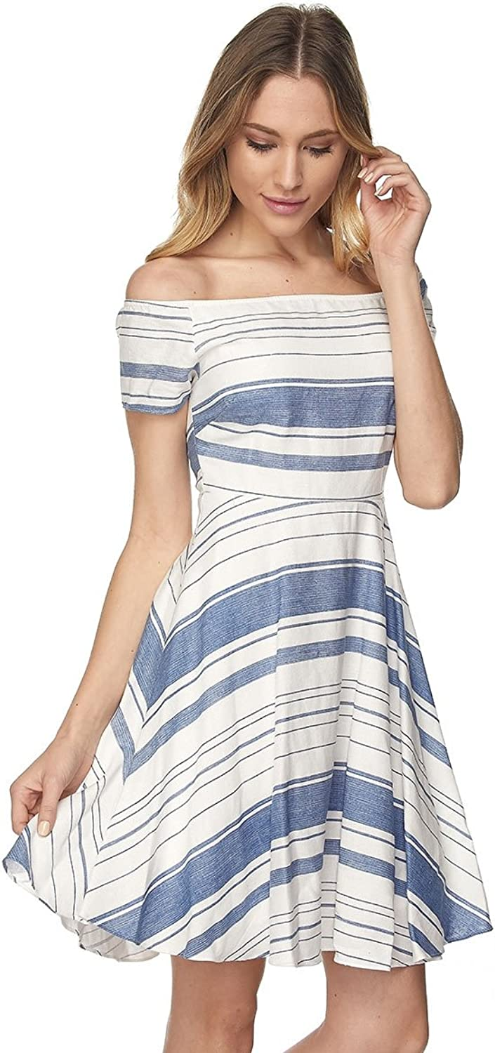 Embrace Women's Off Shoulder Flare Striped Dress Denim