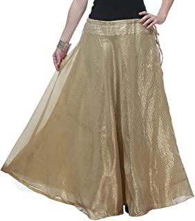 NIKA Women's Polyester Solid Striped Long Skirt by Kaanchie Nanggia (KNA-2046_Golden_Freesize)
