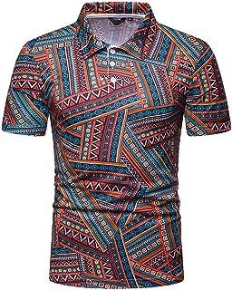 6270328a9fd81 TANGSen Men s Personality Fashion Short Sleeve Shirts Stripe Painting Casual  Top Blouse Classic Shirts Polo Shirt