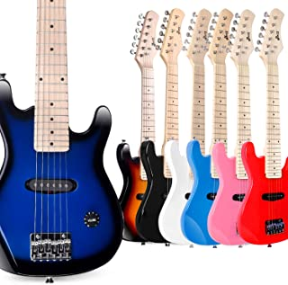 WINZZ 30 Inches Real Kids Electric Guitar with Beginner Kit, Right Handed, Blueburst
