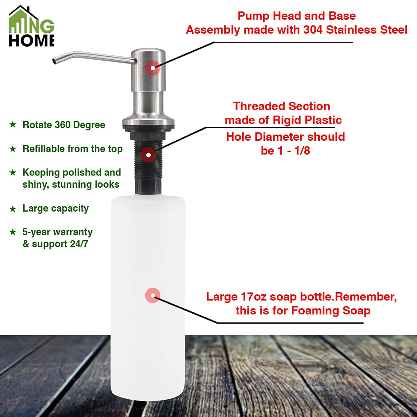 NG Home Durable 304 Stainless Steel Built in Pump Kitchen Sink Soap Dispenser,17 OZ Bottle-3.15 Inch Threaded Tube for Thick Deck Installation-Easy refillable from above counter for kit