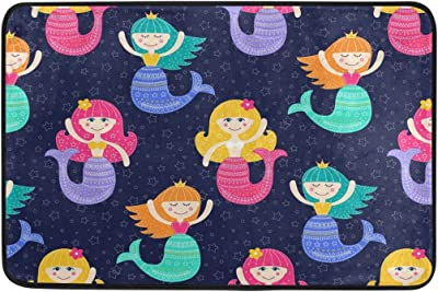 JSTEL Nonslip Door Mat Home Decor, Stylish Cartoon Cute Mermaid Durable Indoor Outdoor Entrance Doormat 23.6 X 15.7 Inches