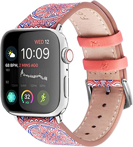 wholesale Fullmosa Apple Watch lowest Band high quality 44mm 40mm 42mm 38mm, Galeri Printed Leather Apple Watch Band Compatible for iWatch Series SE/6/5/4/3/2/1,44mm Orange outlet sale