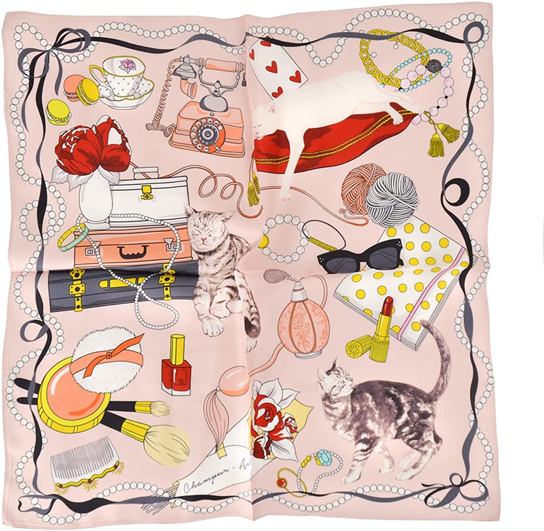 CHAMO POMEO 100% Silk Square Scarf Small For Women Chamo Pomeo Fashion Pattern Satin Headscarf Wraps 19.6''x19.6''