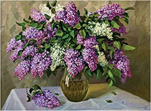 Katosca Paint by Number Kits Adults DIY Oil Painting Drawing Room Decoration Lilac Flower Gift for Adults and Kids 16x20inch