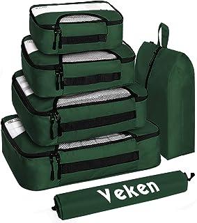 مجموعة من 6 صناديق التعبئة ومنظمات الأمتعة للسفر مع حقيبة غسيل وحقيبة حذاء (أخضر الغابة) من Veken