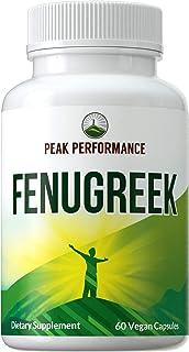 Fenugreek Vegan Capsules Made with Organic Fenugreek by Peak Performance. Supplement for Women + Men. Nursing, Breastfeedi...