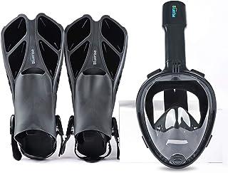 BLUERISE Snorkeling Gear for Adults Antifog Snorkel Set Snorkel Mask Adult Anti-Leak Snorkeling Fins Safety Snorkeling Gea...