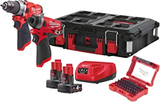 Milwaukee 4933471144 M12 FPP2A-602X Hammer Drill-Martillo de percusión 1 pulgada Hex Cordless Compact Impact Wrench, rojo y negro, Red & Black