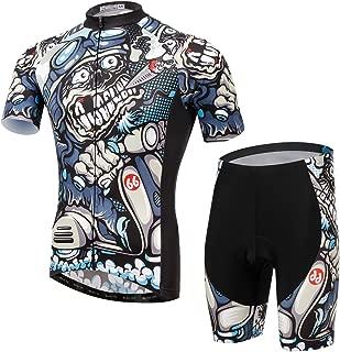 Summer Fashion TeyxoCo Men Cycling MTB Cartoon Skull Gel Pad Jersey Set