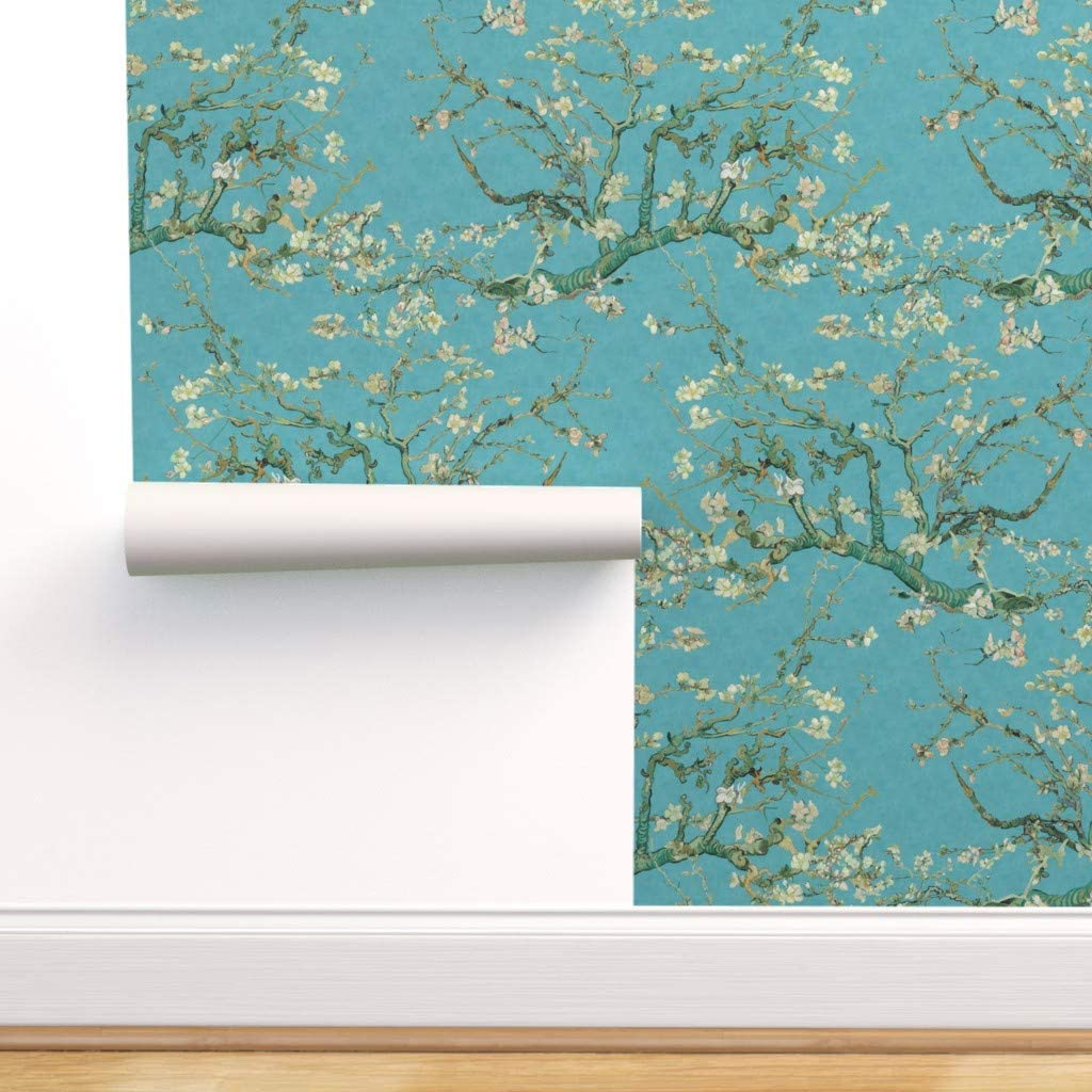 Spoonflower Pre-Pasted Removable Wallpaper Van Blossom Alm Gogh High Factory outlet material