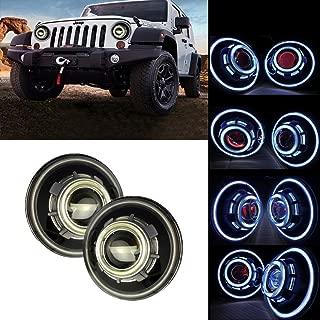 SXMA 7 Inch LED Headlights,LED Projector Headlights with Halo, Angel Eye, Demon Eye Headlights for Jeep Wrangler CJ LJ TJ JK Rubicon Sahara Hummer (Jeep Angel Eye Headlights - G)