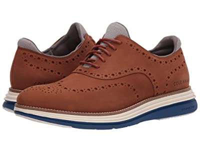 Cole Haan Original Grand Ultra Wing Ox (CH British Tan Nubuck/Ivory/True Blue) Men