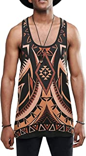 URRU Men's Longline Tank Tops with All Over Floral Printed Casual Graphics Tees Sleeveless T-Shirt S-XXL