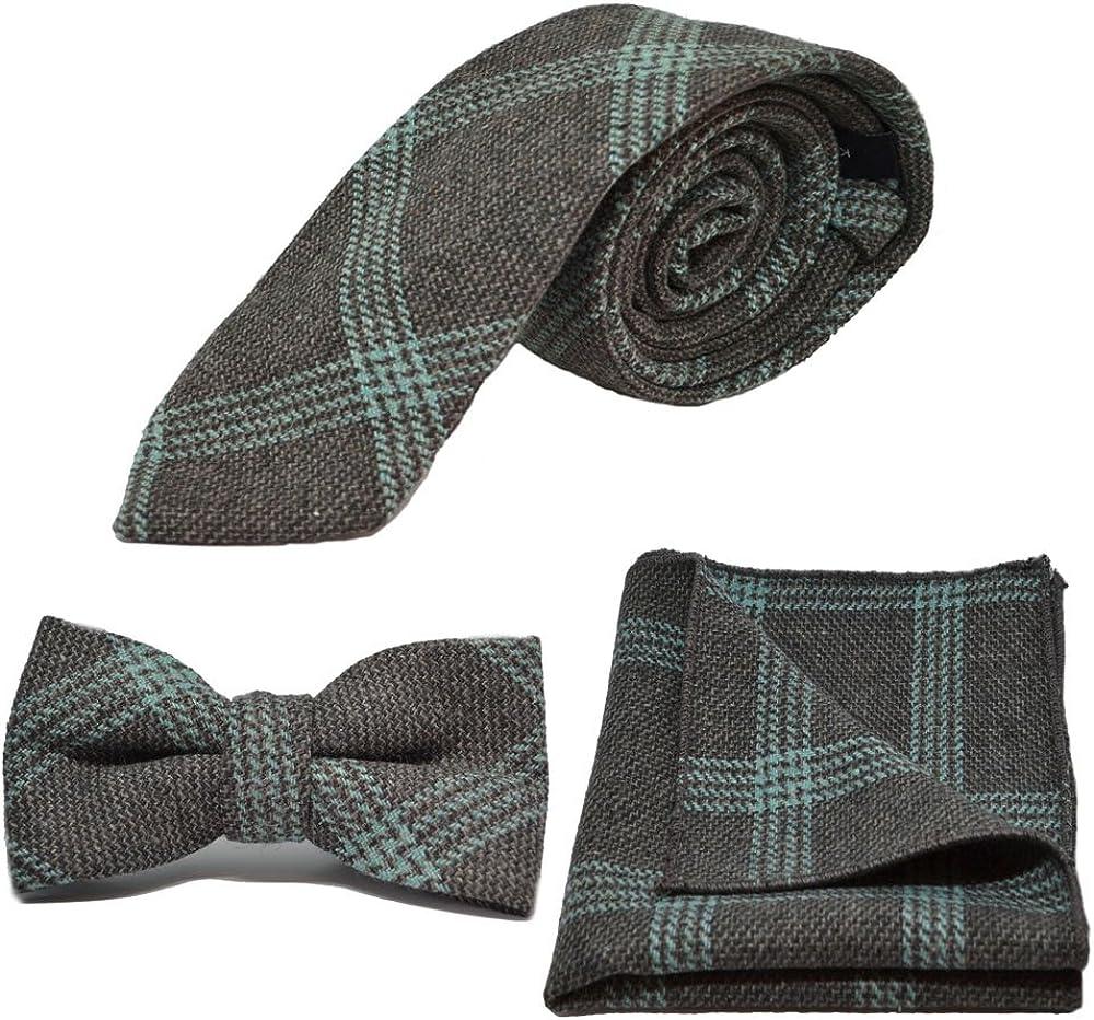 Slate Grey & Blue Birdseye Check Necktie, Bow Tie & Pocket Square Set