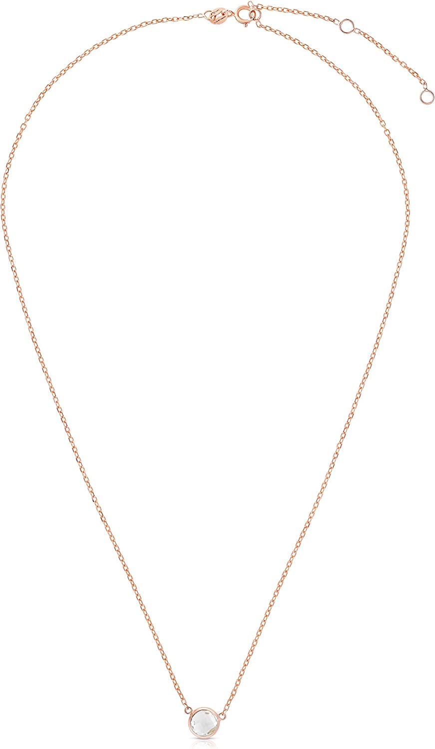 Courier shipping free Floreo 14k Yellow or Rose Sale item Pendant Gold Gemstone Solitaire Round