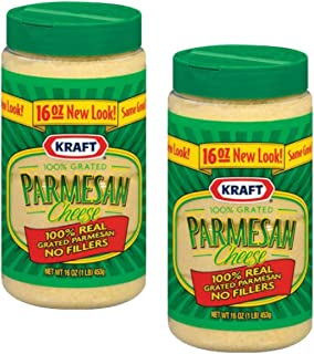 Kraft Parmesan Cheese 100% Grated 16-ounce Plastic Canister (Pack of 2)