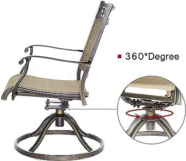 Modern-Depo Set of 2 Bistro Swivel Rocker Chairs Outdoor Patio Garden Furniture, 360 Degree Rotating, Heavy-Duty Frame