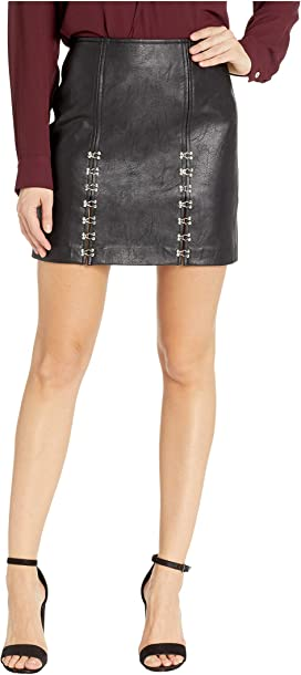 9e5bc79784 Vegan Leather Mini Skirt with Hook and Eye Detail in Limitless. 18. Blank  NYC