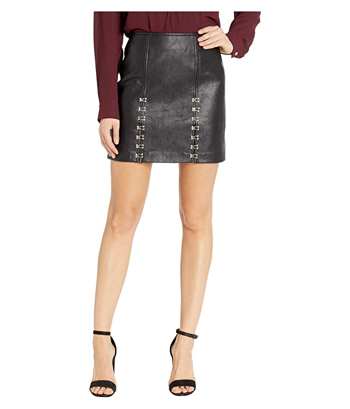 Blank NYC Vegan Leather Mini Skirt with Hook and Eye Detail in Limitless (Limitless) Women