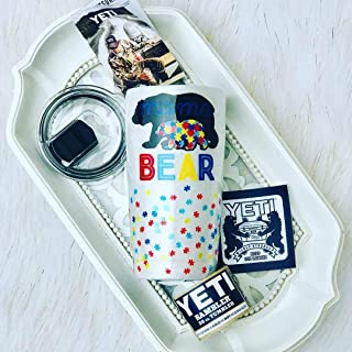 Authentic Yeti 20oz Rambler Autism Mama Bear Puzzle Pieces Glitter MagSlider Lid