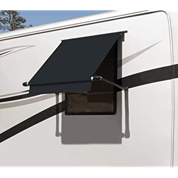 Chocolate Stripe with White Wrap and Red Tenera Thread Carefree IE0557B00 SL Premium Chocolate 5.5 Long RV Camper Complete Window Awning with White Arms
