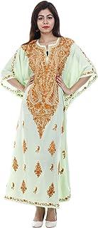 Odishabazaar Cotton Kashmiri Aari Work Designer Kaftan Maxi Dress Beachwear Cover Up + Owl Earring