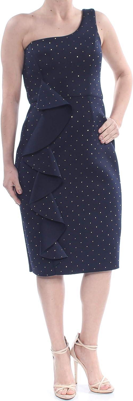 BETSY & ADAM Women's Metallic-dot Ruffled Scuba Sheath Dress
