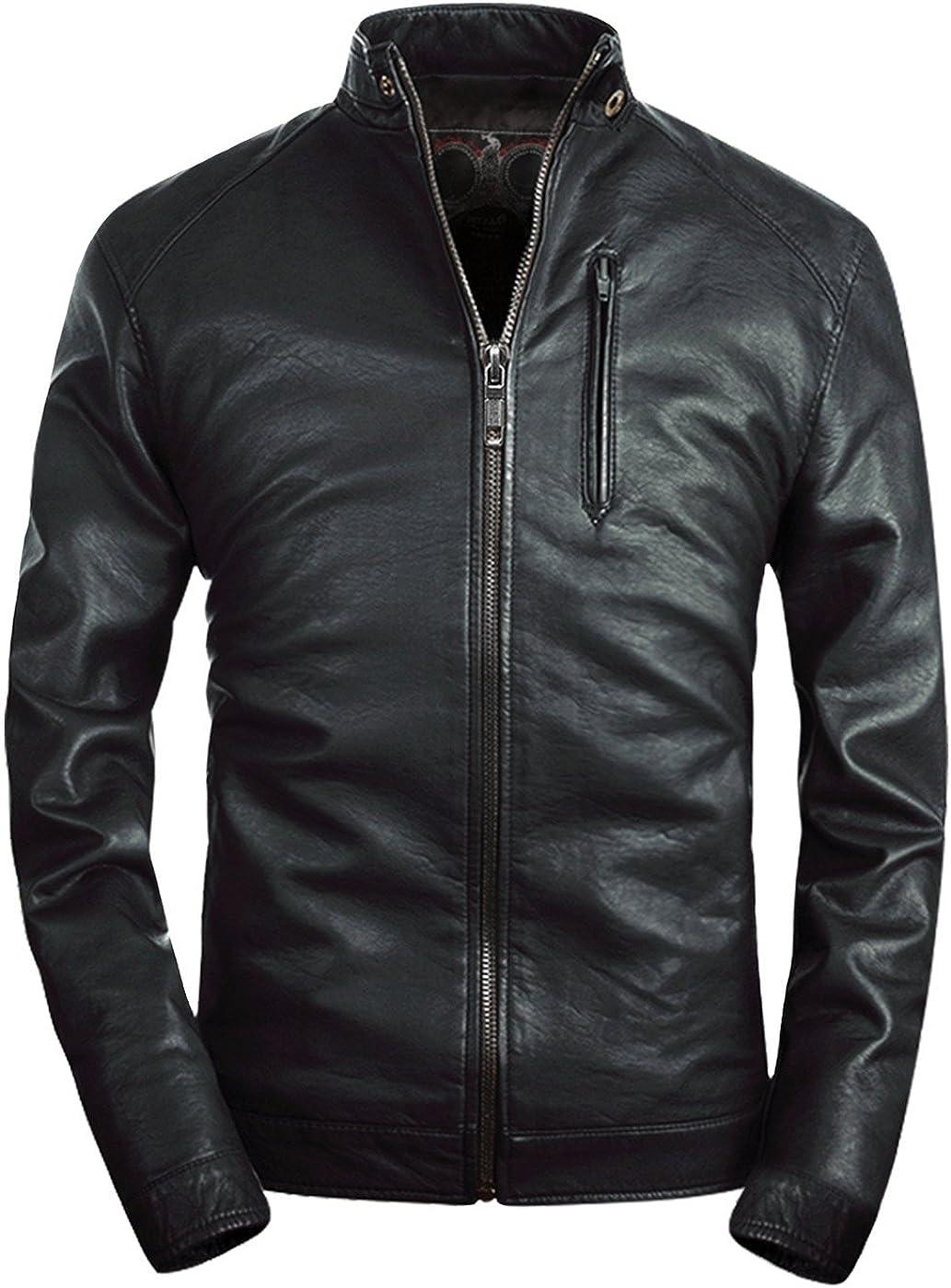 Fairylinks Mens Leather Jacket Classic Moto Zip Up Black