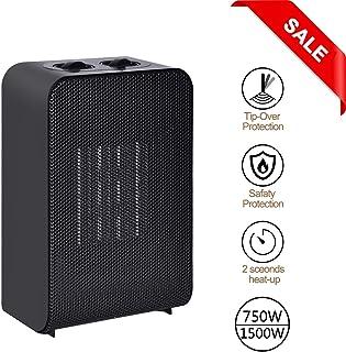 Iseebiz Mini Calefactor de Aire Caliente con 2 Potencias 750W y 1500W Calefacción PTC Silencioso
