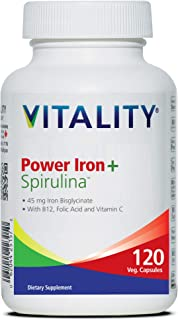 VITALITY Power Iron + Spirulina | 45mg Iron | Blood Builder | Iron Deficiency Support | Vegan | All Natural Supplement | Gentle on Stomach | 120 Capsules