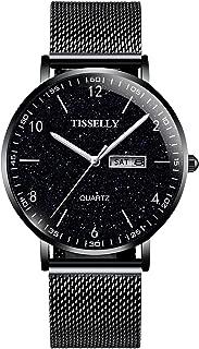 腕時計 メンズ 時計 TISSELLY シンプル 極薄型ウオッチ ファッション カジュアル アナログクオーツ 日付 防水腕時計 スリム 男性用の合金製 ステンレス鋼 メッシュバンド