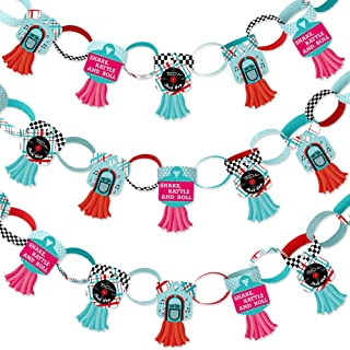 Big Dot of Happiness 50's Sock Hop - 90 Chain Links and 30 Paper Tassels Decoration Kit - 1950s Rock N Roll Party Paper Chains Garland - 21 feet